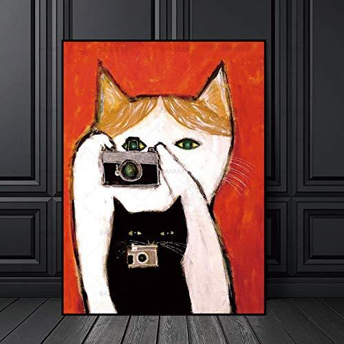 LPaWD Abstract Cartoon Cat Picture Impresión en Lienzo Arte de la Pared Decoración, póster, Arte de la Pared Imagen A4 70X100cm
