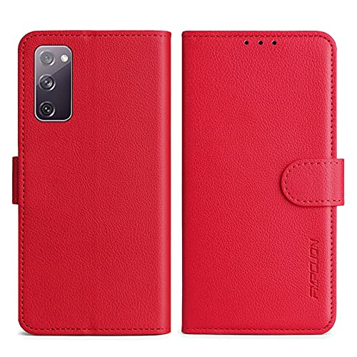 FMPCUON Handyhülle Kompatibel mit Samsung S20 Fan Edition/S20 FE 5G/S20 Lite Hülle Leder PU Leder Tasche,Flip Hülle Lederhülle Handyhülle Etui Handytasche Schutzhülle für Galaxy S20 FE 5G,Rot
