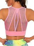FITTOO Sujetador Deportivo Tops de Yoga Correr Gimnasio para Mujer Rosa Claro S