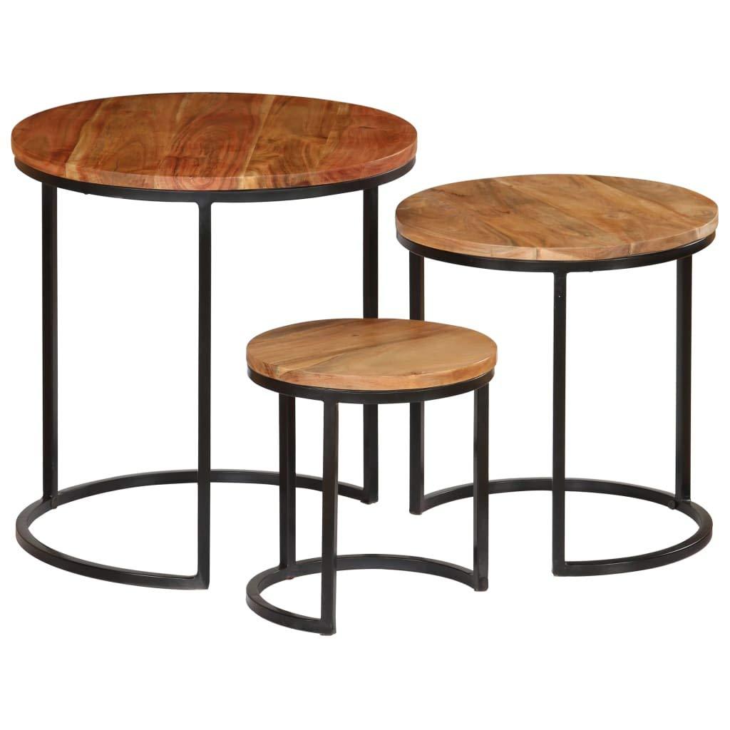 Set de 3 Tables DAppoint Rondes Gigogne Teck Recycl/é Acacia Mahogany Pieds M/étal