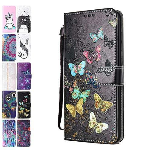 Ancase Handyhülle für Lenovo Motorola Moto G8 Power Hülle Bunter Schmetterling Muster Lederhülle Flip Hülle Cover Schutzhülle mit Kartenfach Ledertasche für Mädchen Damen