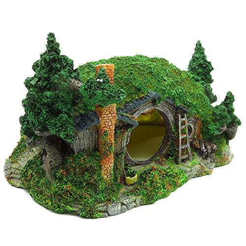 YAOHEHUA Guaridas Piedras hábitats Reptiles y Anfibios Las plagas y los Peces evitan la Plataforma de Escalada para Mascotas Lawn House 27cm * 18cm * 14.5cm