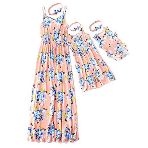IFFEI Mommy and Me Vestido Largo a Juego Correa de Espagueti con Estampado Floral Vestido Largo sin Mangas Casual de Verano con Diadema Niña: 9-12M