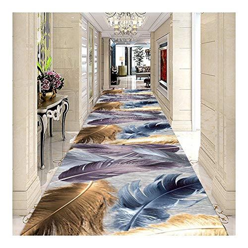ditan CnCnCn 3D Feather Print Pattern Corridor Rug Entrance Aisle Bedroom Can Be Cut (Color : A, Size : 60x100cm)