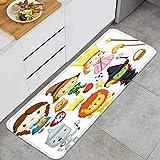 YMWEI Cocina Antideslizante Alfombras de pie Vector Set Muchos Personajes Mago oz Decoración de Piso Confortables para el hogar, Fregadero, lavandería-120cm x 45cm