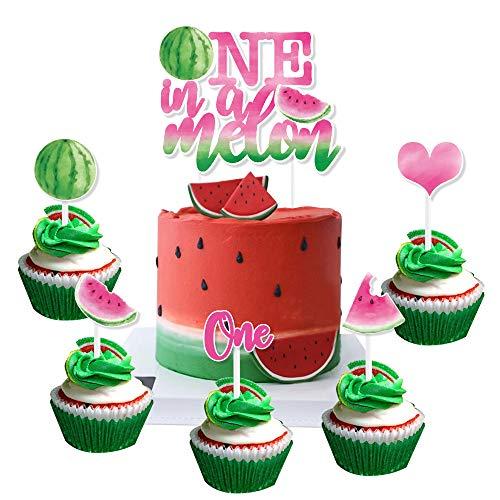 WERNNSAI Sandía Cupcake Toppers - 31PCS One In A Melon Cake Topper para Niñas 1er Cumpleaños Verano Frutas Tropicales Fiesta Temática de Sandía Cup Cake Topper Recoge Decoraciones