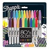 Sharpie Permanentmarker mit feiner Spitze, 80's glam, 24er Packung, farblich sortiert