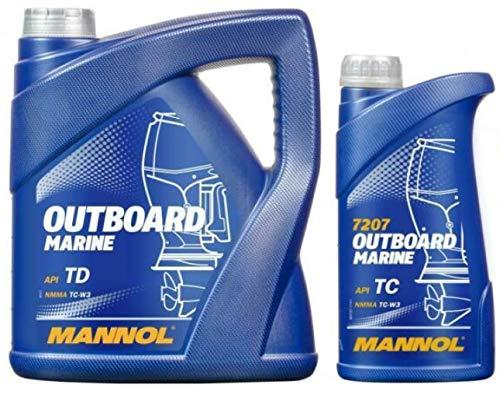 Mannol Aceite para motor fueraborda Marine de dos tiempos API TD NMMA TC-W3, 5 litros