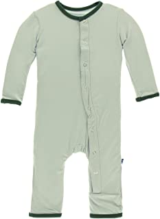 Kickee Pants Little Boys Solid Coverall with Snaps - Aloe with Topiary, 3-6 Months