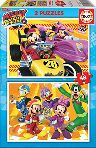 Educa - Mickey and The Roadster Racers 2 Puzzles infantiles de 48 piezas, a partir de 4 años (17239)