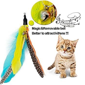 Jouet pour chat interactif avec teaser et baguette magique avec 2 bâtons, 10 pièces jointes, plumes pour oiseaux de vers, pour chatons