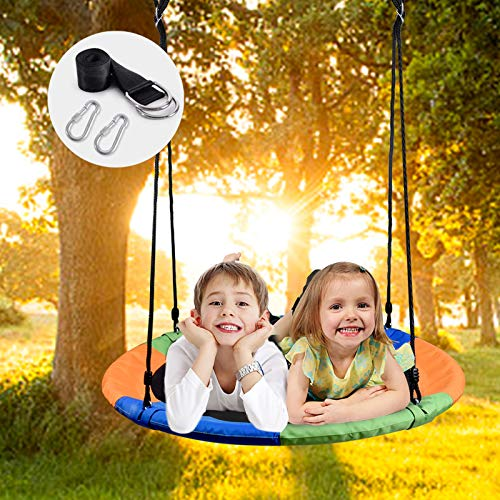 WONDERVIEW Tree Swing, Outdoor Swing with Hanging Strap Kit, 40 Inch Diameter 600lb Weight Capacity, Great for Playground Swing, Backyard and Playroom...
