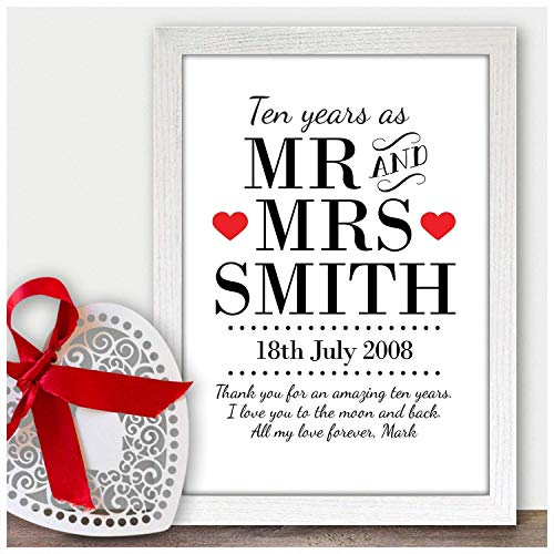 10 Years As Mr & Mrs, 10th Tin Wedding Anniversary Picture Keepsake Gifts for Husband, Wife - PERSONALISED for ANY Wedding Anniversary 1st, 2nd, 5th, 10th, 50th - Black or White Framed A5, A4 Prints