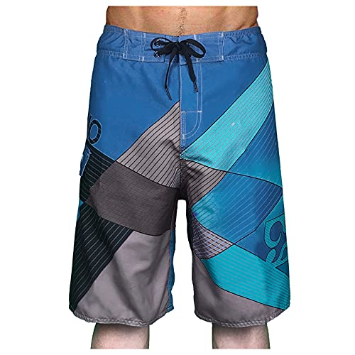 Men's Quick Dry Swim Trunks, Summer Knee Length Surfing Board Shorts with Waistband for Beach Workout Running Hiking Blue