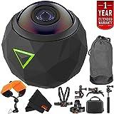 360fly 4K Waterproof Video Camera (FLYC4KC01BEN) Year Extended Warranty + Floating Strap + Clip Head Mount International Version