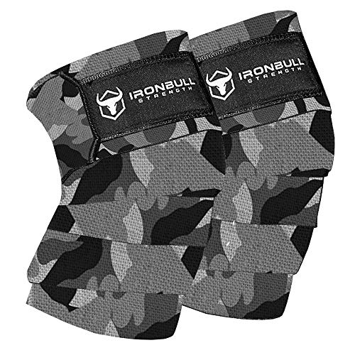 "Knee Wraps (1 Pair) - 80"" Elastic Knee and Elbow Support & Compression - For Weightlifting, Powerlifting, Fitness, WODs & Gym Workout - Knee Straps for Squats (Camo/White)"