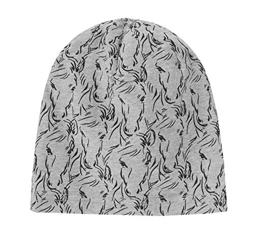 Döll Mädchen Jersey-Mütze Gr.51-55 Beanie grau Pferde UV 30+ neu!, Größe:53