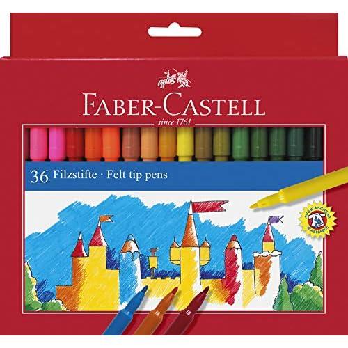 Faber Castell 554236 - Astuccio in cartone con 36 pennarelli a punta in fibra, multicolore