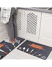 Carvapet 2 Pieza Alfombras Cocina Lavable Antideslizante Alfombrilla de Goma Alfombra de Baño Alfombrillas Cocina (Cubiertos Gris)