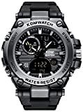 Mens Watches Black Men Digital Analogue Military Waterproof Sports Wrist Watch Multifunction LED Chronograph Alarm Day Date Calendar Trend Casual Design Shcok Digital Watches for Men Boys Teenagers…