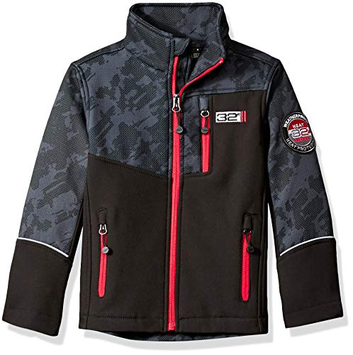 32 DEGREES Weatherproof Boys' Little Outerwear Jacket (More Styles Available), Zip Pockets Black Pop, 5/6