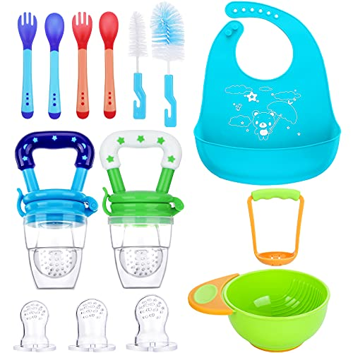13 Pieces Baby Food Feeder Set Include 2 Fresh Fruit Feeder 3 Different Sized Silicone Pacifiers Grinding Bowl and Grinding Rod Silicone Baby Bibs 2 Silicone Baby Spoons and Fork with Cleaning Brush