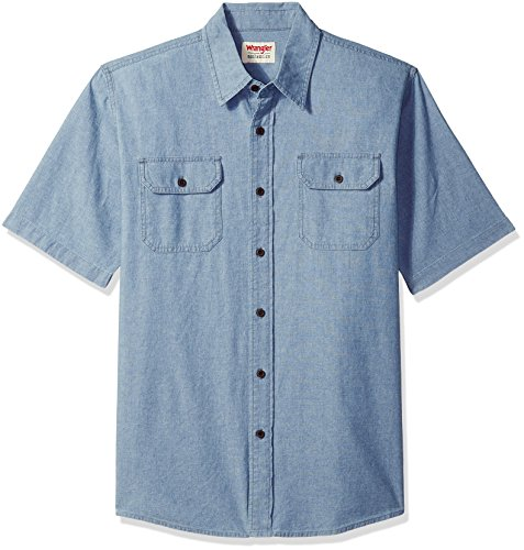 Wrangler Authentics Authentics Men's Short Sleeve Classic Woven Shirt, light chambray, S