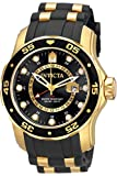 Invicta Men's Pro Diver Scuba GMT 48mm Gold Tone Stainless Steel Quartz Watch with Black Silicone Strap, Black (Model: 6991)