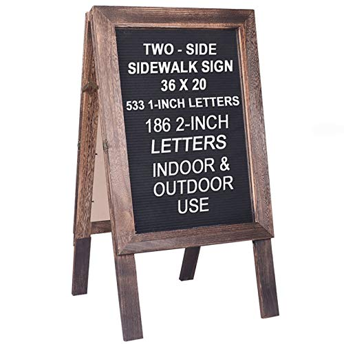 """Large Wooden A-Frame Sidewalk Sign Board 36""""x20"""" Double Sided Felt Letter Board Sandwich Board Sturdy Display Standing Sidewalk Sign with Changeable Letters, Rustic Message Board for Restaurant."""