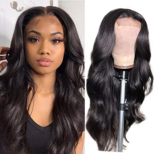 Lace Front Wigs Human Hair Pre Plucked Body Wave Glueless Human Hair Wigs for Black Women 10A 150 Density Lace Closure Wig Natural Color 18 Inch