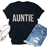 Auntie Shirts Women Cute Leopard Funny Letter Printed Aunt Blouse Tops Casual Short Sleeve Vacation Tee Shirts Tops Grey