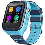 Reloj Inteligente GPS A Prueba De Agua Para Niños, Video Llamadas Telefónicas En Tiempo Real Cámara De Seguimiento Alarma SOS Pantalla Táctil De Monitoreo De Salud Linterna De Seguimiento GPS,Azul