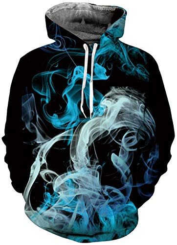 Funny Adult Hoodies Plus Velvet Sweatshirt Drawstring Printed Pullover Cool 3D Blue Smoke Smog Graphic Jacket Long Sleeve Sports Clothes Party Jackets Tops Size XX-Large/XXX-Large