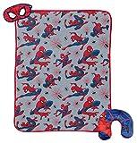Marvel Spiderman 3 Piece Plush Kids Travel Set with Neck Pillow, Blanket, & Eye Mask (Official Marvel Prodcut)