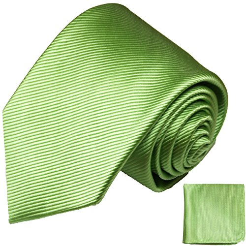 Paul Malone Krawatten Set 100% Seidenkrawatte grün uni + Einstecktuch
