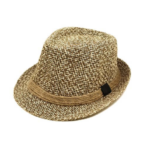 Premium Classic Brown and White Fedora Straw Hat