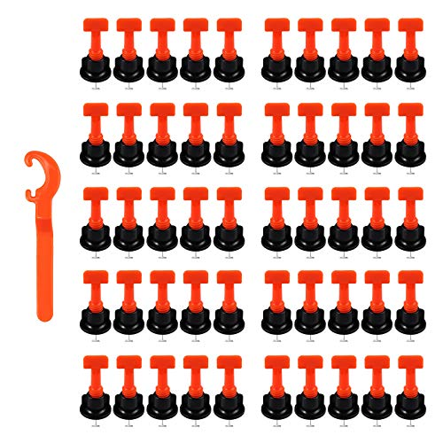 100 Piezas Sistema de Nivelación de Azulejos Reutilizable Espaciador Nivelador de Baldosas Antideslizantes con Llave Adicional Para Nivelar Pisos Tiles Azulejos