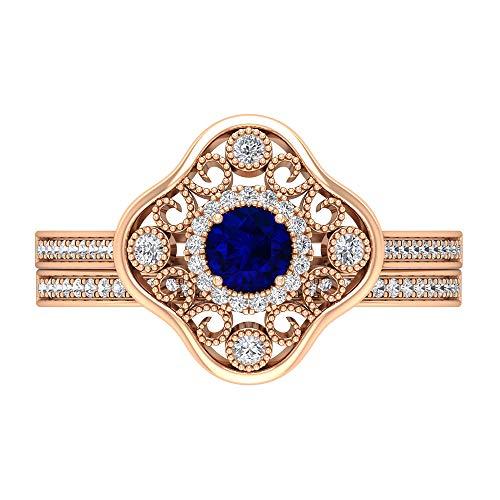 Rosec Jewels 14 quilates oro rosa redonda round-brilliant-shape H-I Blue Diamond Blue Sapphire