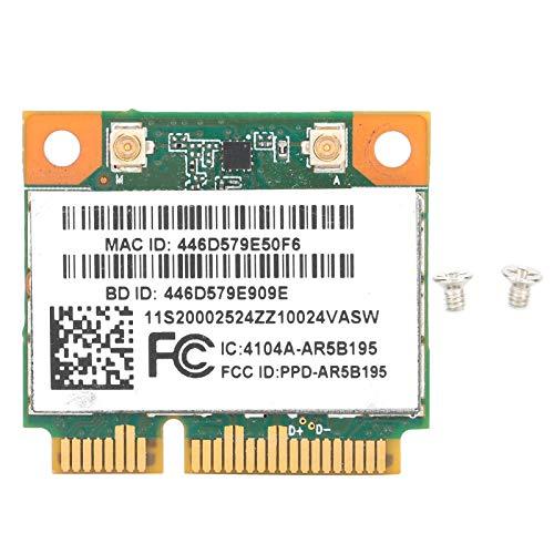 Heayzoki Tarjeta de Red, módulo de Tarjeta inalámbrico Half Mini PCI-E Bluetooth3.0 150Mbps Accesorios de computadora AR5B195, Half Mini PCI-E Tarjeta de Red para XP / Win7 / Win8