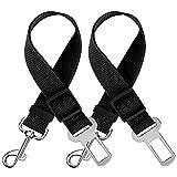 mopalwin Cinturón de Seguridad para Perros, 2 Piezas Perros Correa Seguridad, Universal Ajustable Nylon Cinturon Perro Coche, Duradero Cinturón de Seguridad de Coche - Negro