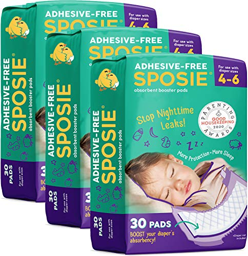 Sposie Overnight Diaper Booster Pads, 90 ct, No Adhesive for Easy Repositioning, Helps Stops Nighttime Leaks, Fits Diaper Sizes 4-6