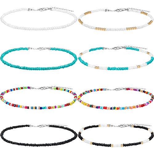 Hicarer Samenkorn Choker Halskette Kleine Perlen Choker Boho Bunte Choker Halskette Kette Schmuck für Damen und Mädchen, Einstellbare 12-16 Zoll (Farbe Set 1, 8 Stücke)