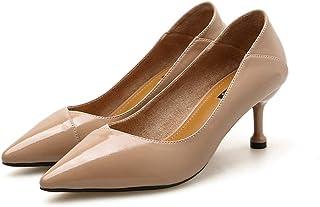 [Date U] ピンヒール パンプス ポインテッドトゥ レディース 美脚靴 ビジネスシューズ 6cmヒールアップ 2種履き方 ミュールサンダル かかとが踏める vカット 美脚 春夏靴 ローカット 歩きやすい 黒色 杏色