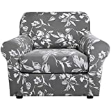 H.VERSAILTEX Super Stretch 2 Pieces Sofa Covers for Armchair Covers Living Room Chair Slipcovers Feature Soft Thick Mondern Style with Individual Cushion Cover Pet Friendly - Armchair, Grey
