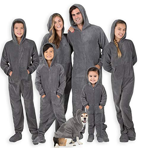 """Footed Pajamas - Family Matching Shadow Gray Hoodie Onesies for Boys, Girls, Men, Women and Pets - Adult - Small2X/Dbl Wide (Fits 5'3-5'6"""")"""