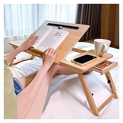 GHHZZQ Ajustable Portátil Mesa Plegable Escritorio de Computadora Estudiando Mesa de Bambú por Cuarto Sala de Estar Dormitorio de La Escuela (Color : B, Size : 72x34cm)