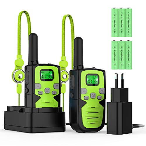 Bobela Walkie Talkie Niños Recargables Walky Talky para Niños 8 Canales de Largo Alcance 3 km VOX con Pantalla LCD...