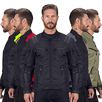 Viking Cycle Ironborn Protective Textile Motorcycle Jacket for Men - Waterproof, Breathable, CE Approved Armor for Bikers (Black, XL)