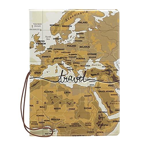 パスポートケース カバー IDケース トラベル 旅行 用品 地図 デザイン 小物 雑貨 かわいい おしゃれ シンプル お揃い 韓国 合成皮革 レディース メンズ(ブラウン)