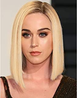 Ombre Blonde Light Brown Roots Short Bob Wigs Side Part 2 Tone Color Heat Resistant Synthetic Hair Replacement Wig For Women